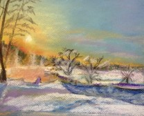 Winter's Sunset Pastel Drawing