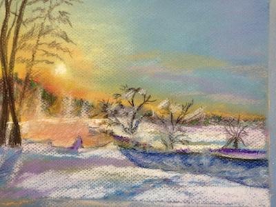 Winter's Sunset Pastel Drawing