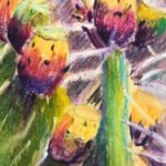 "Flower pastel 5.5x6.5 inches on Canson pastel paper 19""x12"" prickly pear pastel painting"