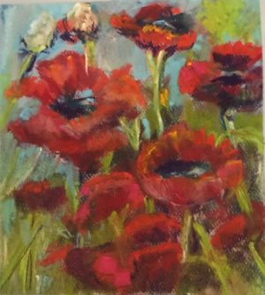 "Flower pastel6.5 x 7.5 inches on Canson pastel paper 19""x12"" Poppy field pastel painting"