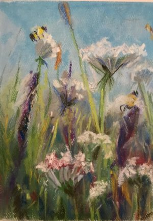 "Flower pastel 6.5 x 7.5 inches on Canson pastel paper 19""x12"" wildflower field pastel painting"